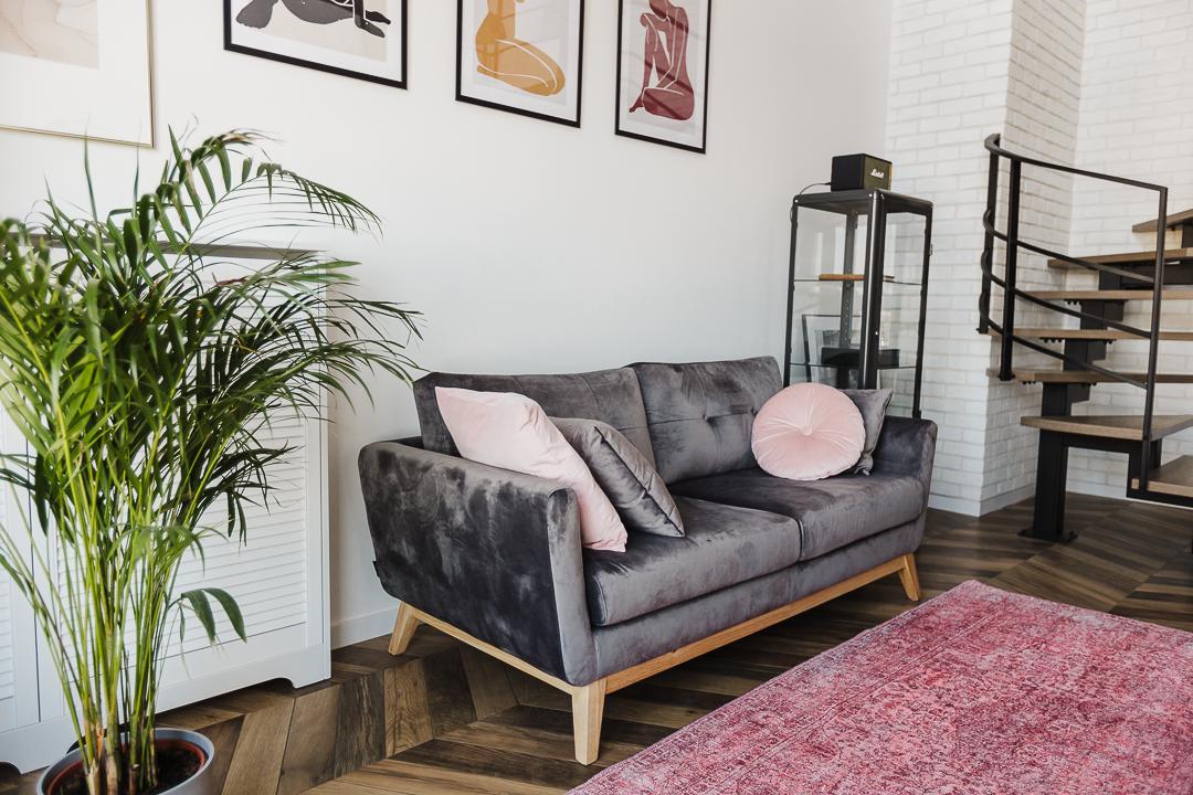 szara welurowa kanapa z różowymi dodatkami