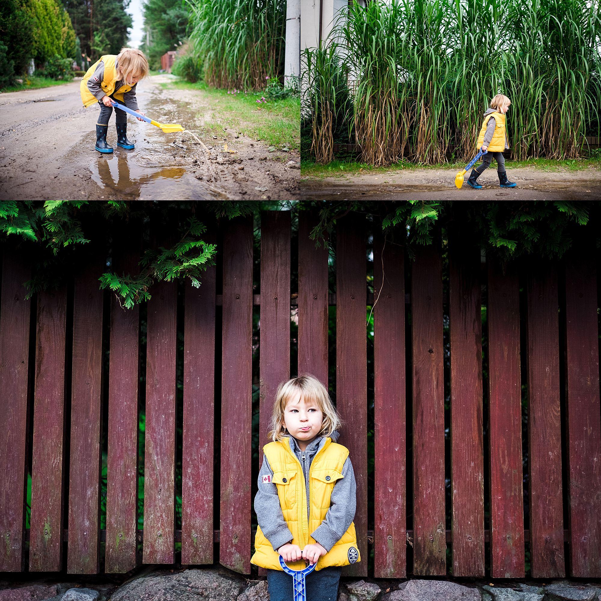jesienne zdjęcia dziecka bawiącego się w błocie
