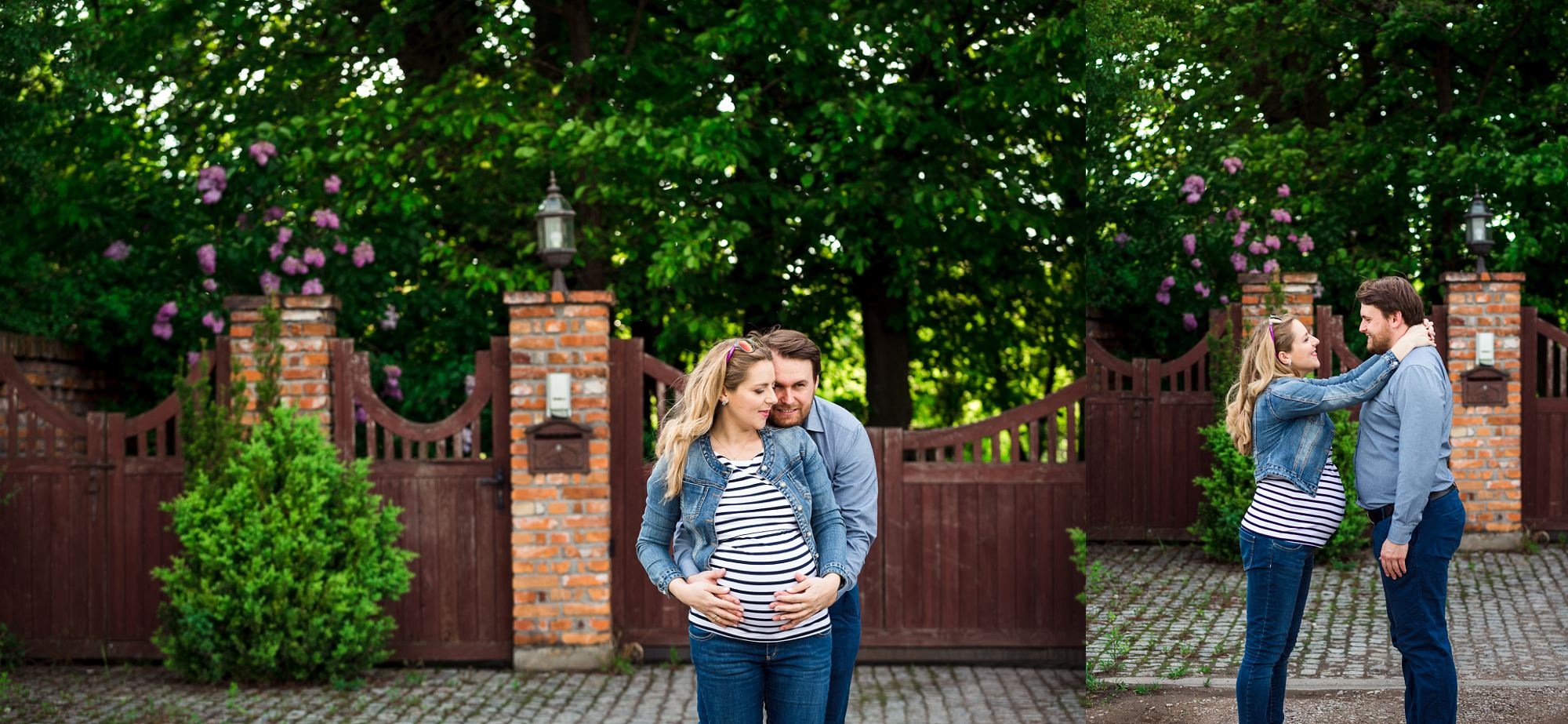 kobieta w ciąży i jej partner przytulają się w parku
